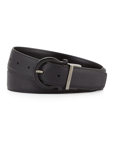 Reversible Gancini-Buckle Leather Belt, Black
