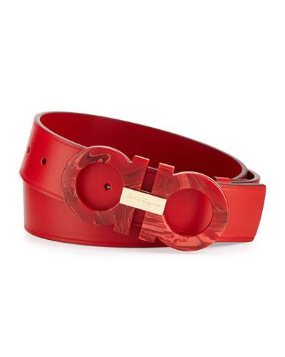 Mini Big Double-Gancini Leather Belt, Red Ruby