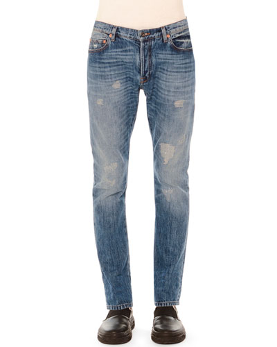 Distressed Slim-Fit Denim Jeans, Blue
