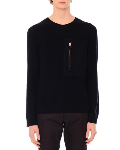 Large-Zip Crewneck Sweater, Navy