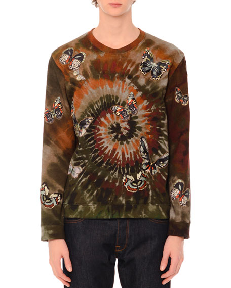 Butterfly-Embroidered Long-Sleeve Tie-Dye T-Shirt, Green Multi