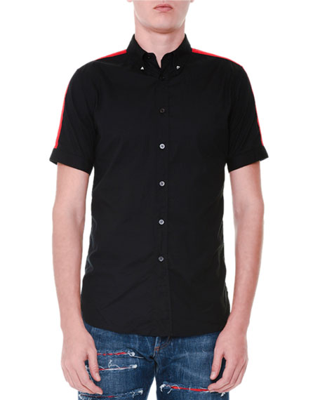 Short-Sleeve Button-Down Shirt w/Red Stripes, Black