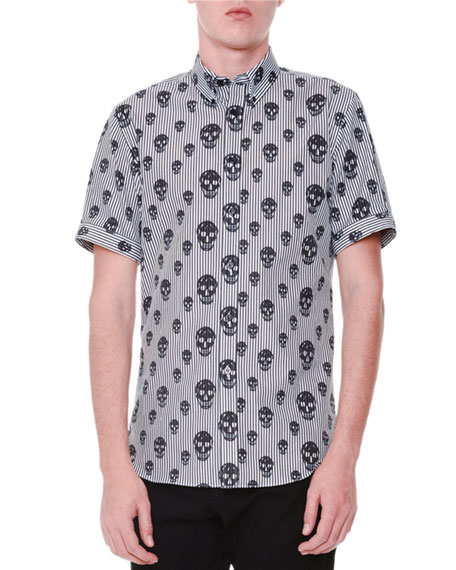 Skull-Print Striped Short-Sleeve Shirt, Black/White