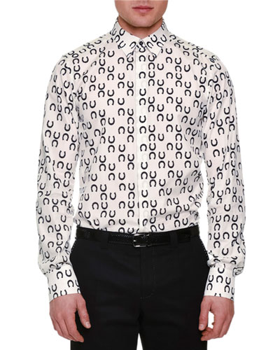 Allover Horseshoe-Print Sport Shirt, White/Black