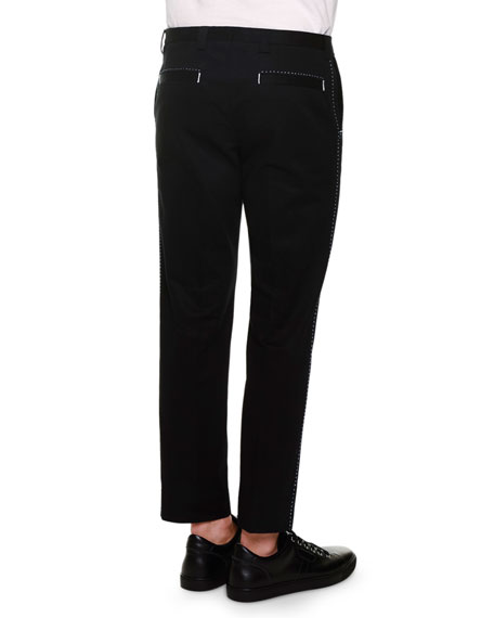 Side-Stitch Flat-Front Trousers, Black