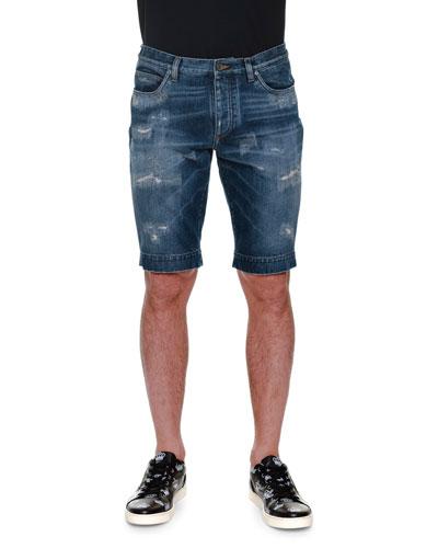 Distressed Denim Shorts, Blue