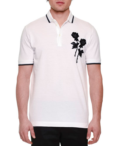 Embroidered-Rose Short-Sleeve Polo Shirt, White
