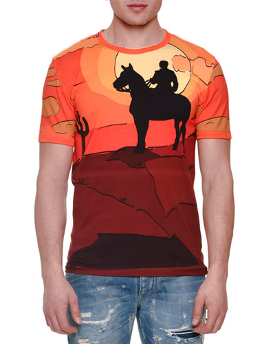 Cowboy-Print Short-Sleeve Tee, Orange Multi