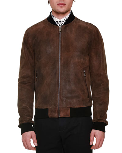 Treated Leather Zip-Up Bomber Jacket, Brown