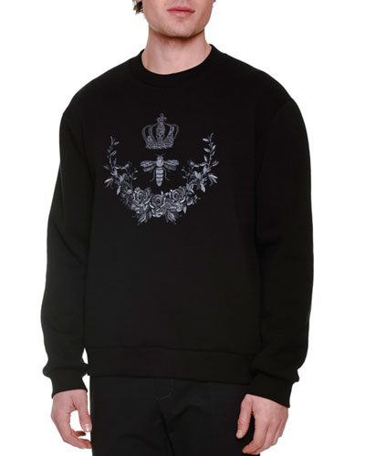 Crown & Bee Embroidered Crewneck Sweatshirt, Black