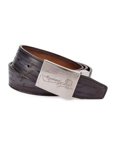 Scritto Leather Belt, Black/Brown