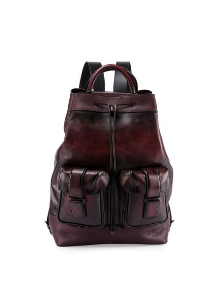 Horizon Drawstring-Top Leather Backpack, Black
