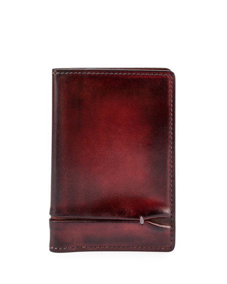 Jagua Bi-Fold Leather Card Case, Red
