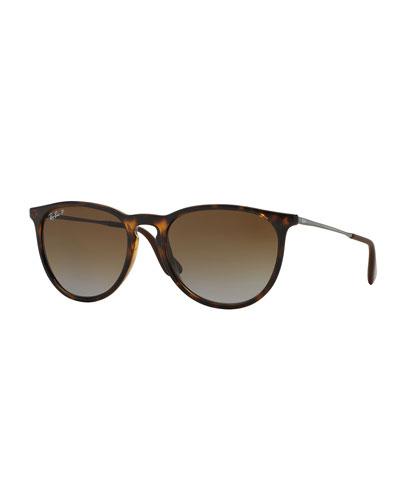 Men's Round Metal Sunglasses, Havana