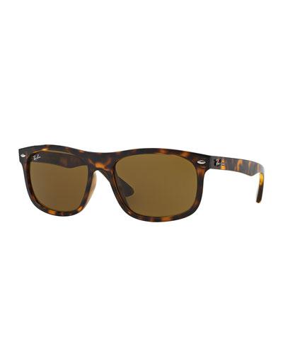 Men's Flat-Top Plastic Sunglasses, Havana