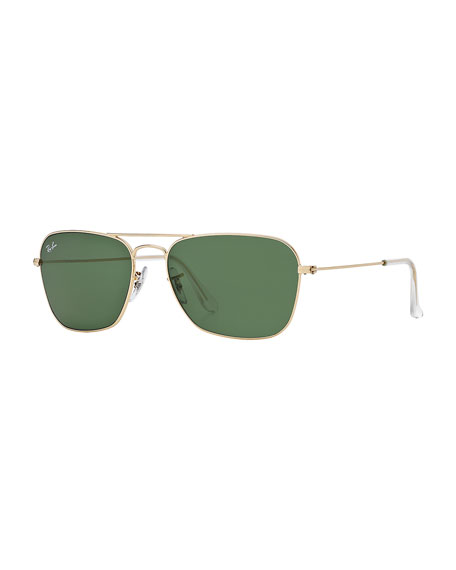 Navigator Sunglasses, Gold/Green