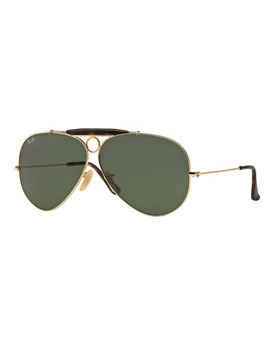 Havana Metal Aviator Sunglasses w/ Bullet Hole, Gold/Dark Green