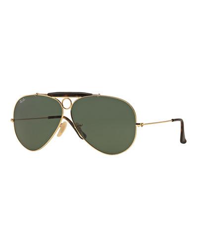 Havana Metal Aviator Sunglasses w/ Bullet Hole, Gold/Dark Green