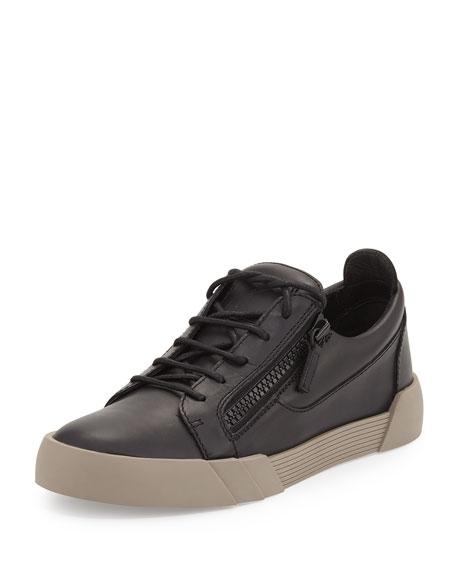 Men's Leather Low-Top Sneaker, Black