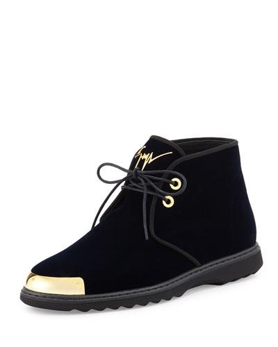 Men's Gold Cap-Toe Velvet Chukka Boot, Navy