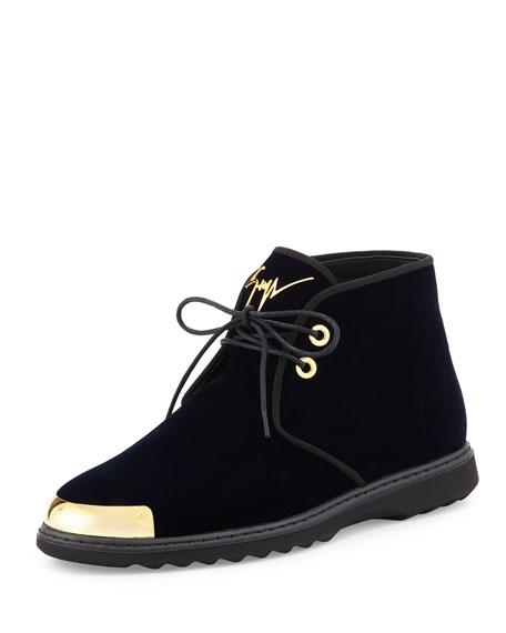 Giuseppe Zanotti Men's Gold Cap-Toe Velvet Chukka Boot,