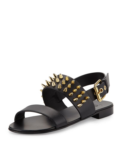 Men's Studded Leather Strap Sandal, Black