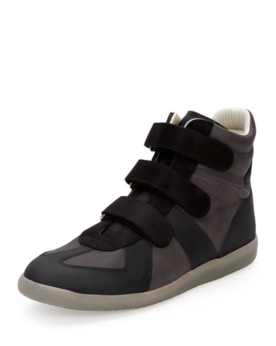 Three-Strap Leather High-Top Sneaker, Black/Navy/Gray