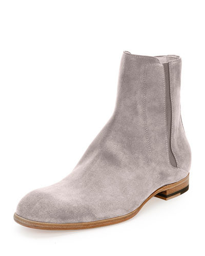 Suede Chelsea Boot, Light Gray