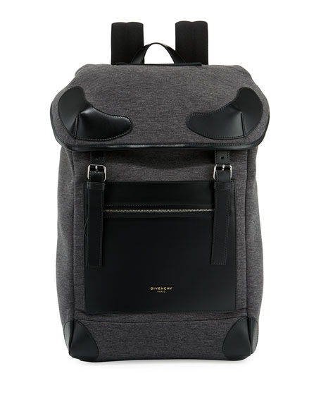 Rider Flannel & Leather Backpack, Gray