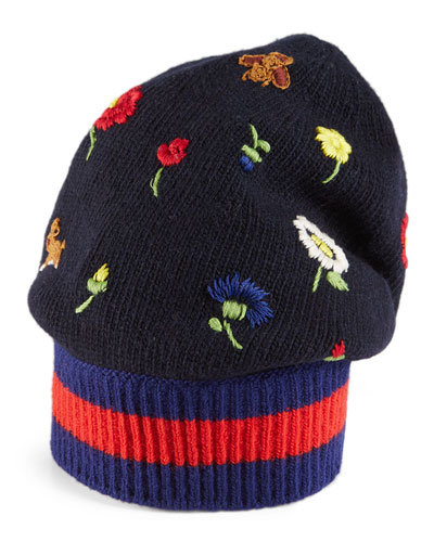 Flower & Bee-Embroidered Knit Hat, Navy/Blue