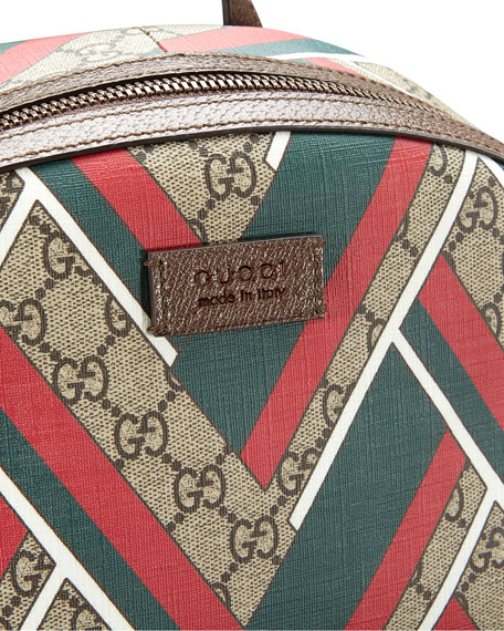 88dc00b74399 Gucci GG Chevron Canvas Backpack, Red/Green