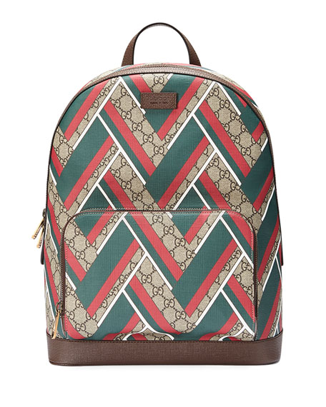 d61464e502c6 Gucci GG Chevron Canvas Backpack, Red/Green