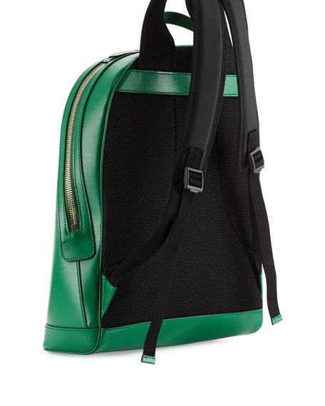 2dbba1b9d0da Gucci Web & Snake Leather Backpack, Green
