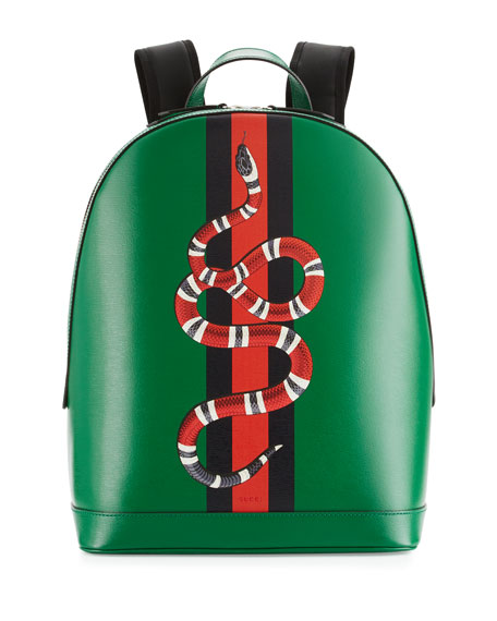 31894e41c2 Gucci Web   Snake Leather Backpack