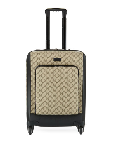 Small GG Supreme Canvas Trolley Suitcase, Beige/Black