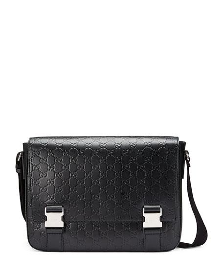 Gucci Signature Leather Messenger Bag, Black