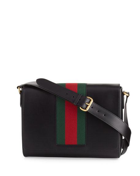 Men's Leather Messenger Bag w/Web, Black