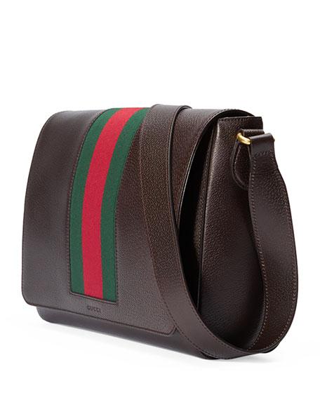 4df6505c946b3 Gucci Textured Leather Messenger Bag w Web