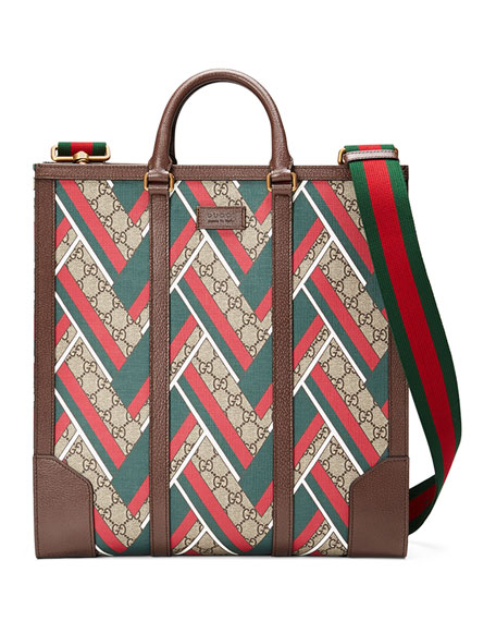 Gucci GG Chevron North-South Tote, Red/Green