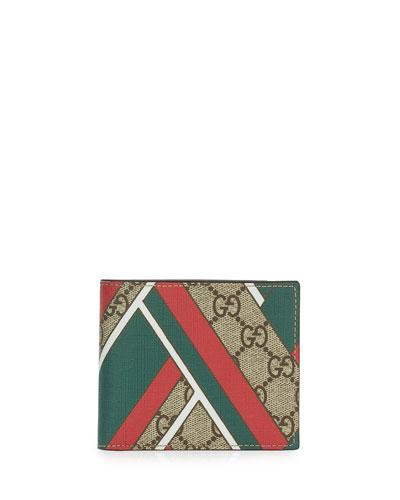 GG Chevron Canvas Bi-Fold Wallet, Red/Green