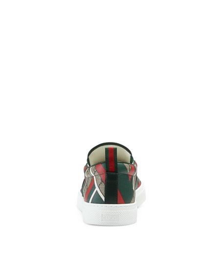 Dublin GG Chevron Canvas Slip-On Sneaker, Green/Red/Beige