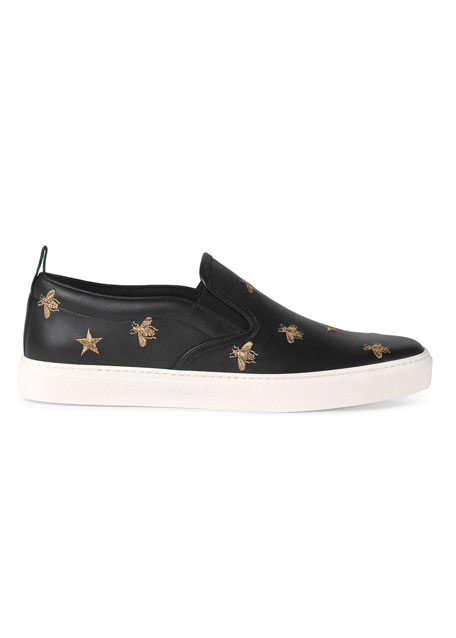 Gucci Dublin Bee & Star Embroidered Leather Slip-On