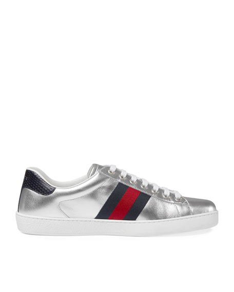bf22b3237db Gucci New Ace Metallic Leather Low-Top Sneaker