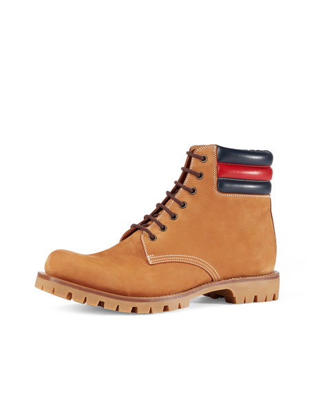 21345695c Gucci Marland Suede Hiking Boots w/Web Detail