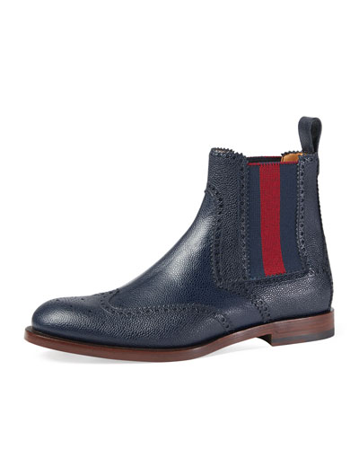 Strand Hammered Leather Chelsea Boot w/Web, Navy