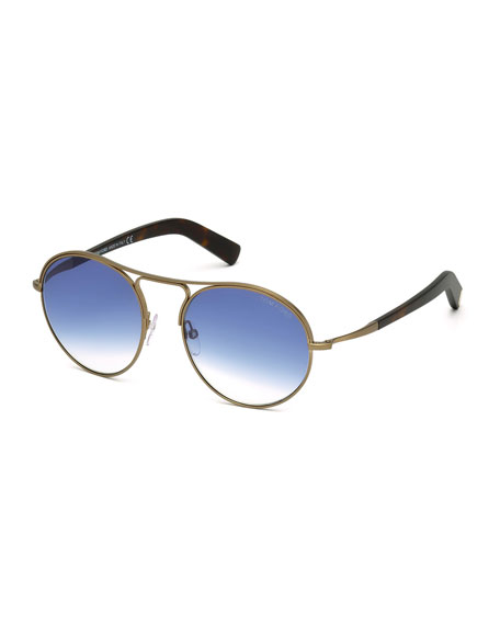 Jessie Rounded Aviator Sunglasses, Havana/Blue
