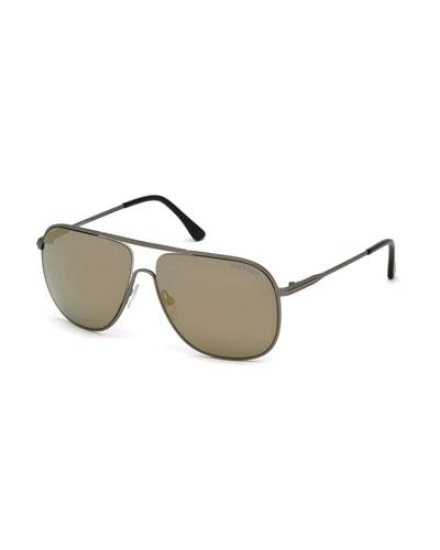 Dominic Metal Aviator Sunglasses, Black/Smoke