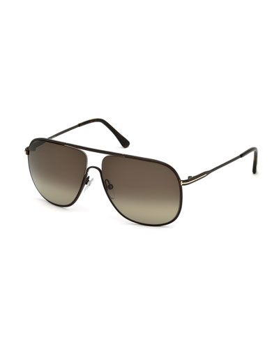 Dominic Havana Metal Aviator Sunglasses, Brown/Roviex