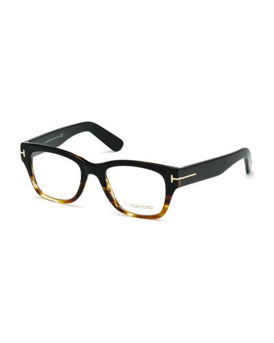 Large Gradient-Frame Eyeglasses, Black/Havana