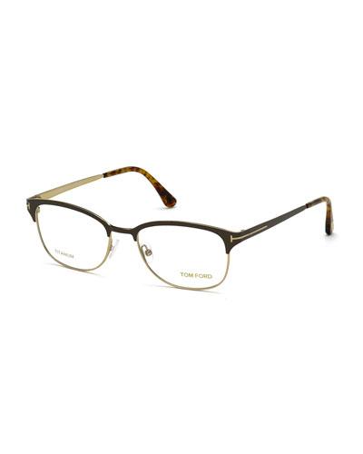 Shiny Metal Square Eyeglasses, Rose Gold/Brown
